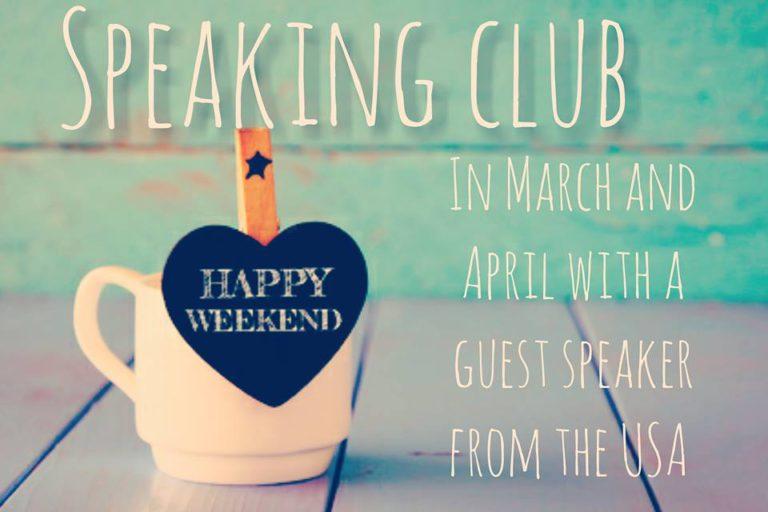 У березні та квітні 2018 Speaking Club with a guest speaker from the USA
